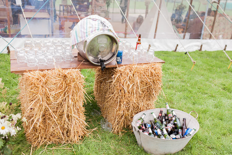 Hay Bale Bar Table Fun Late Summer Outdoor Farm Wedding http://bowtieandbellephotography.co.uk/