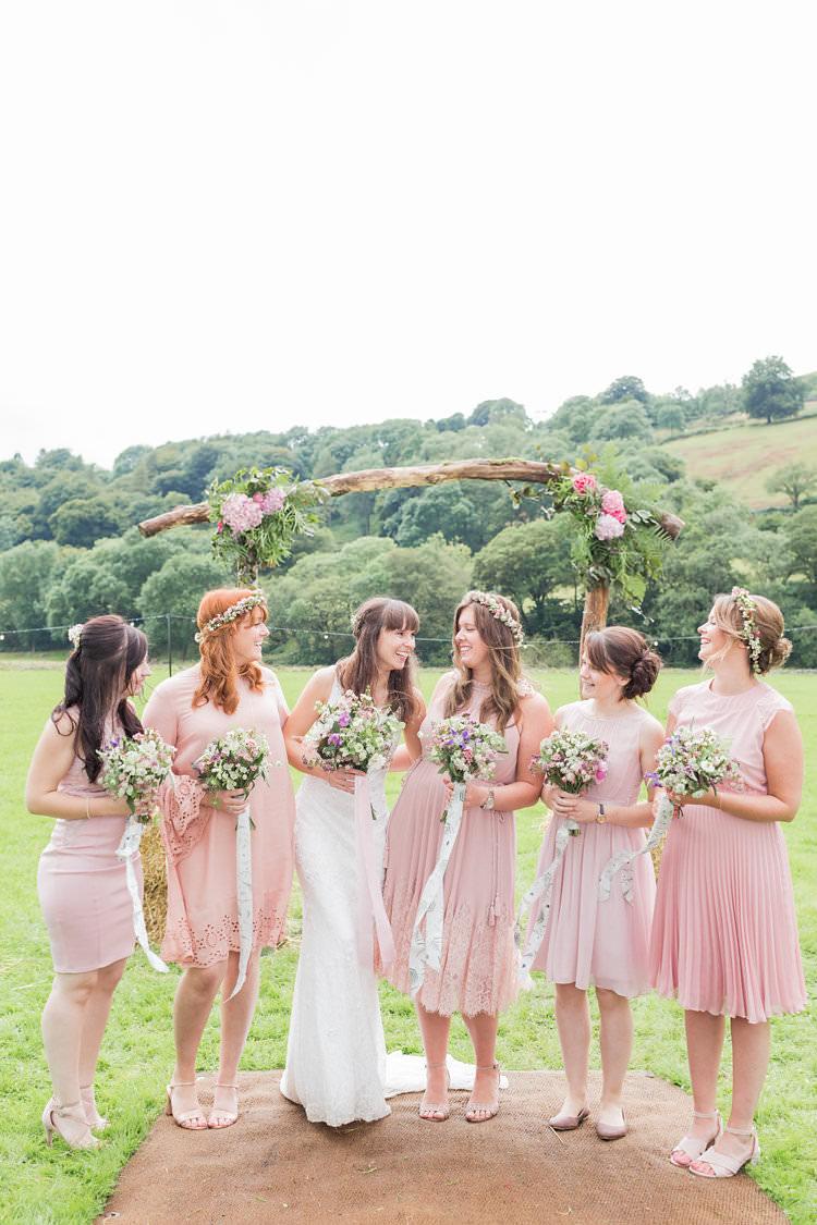 Mismatched Pink Bridesmaid Dresses Flower Crowns Fun Late Summer Outdoor Farm Wedding http://bowtieandbellephotography.co.uk/