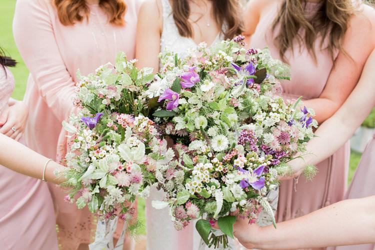 Bouquets Flowers Bride Bridal Bridesmaids Pink Purple Fun Late Summer Outdoor Farm Wedding http://bowtieandbellephotography.co.uk/
