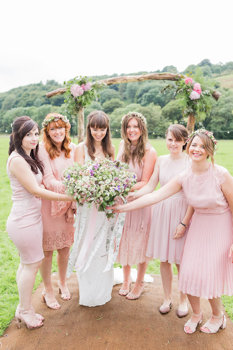 Mismatched Pink Bridesmaid Dresses Flower Crowns Bouquets Fun Late Summer Outdoor Farm Wedding http://bowtieandbellephotography.co.uk/