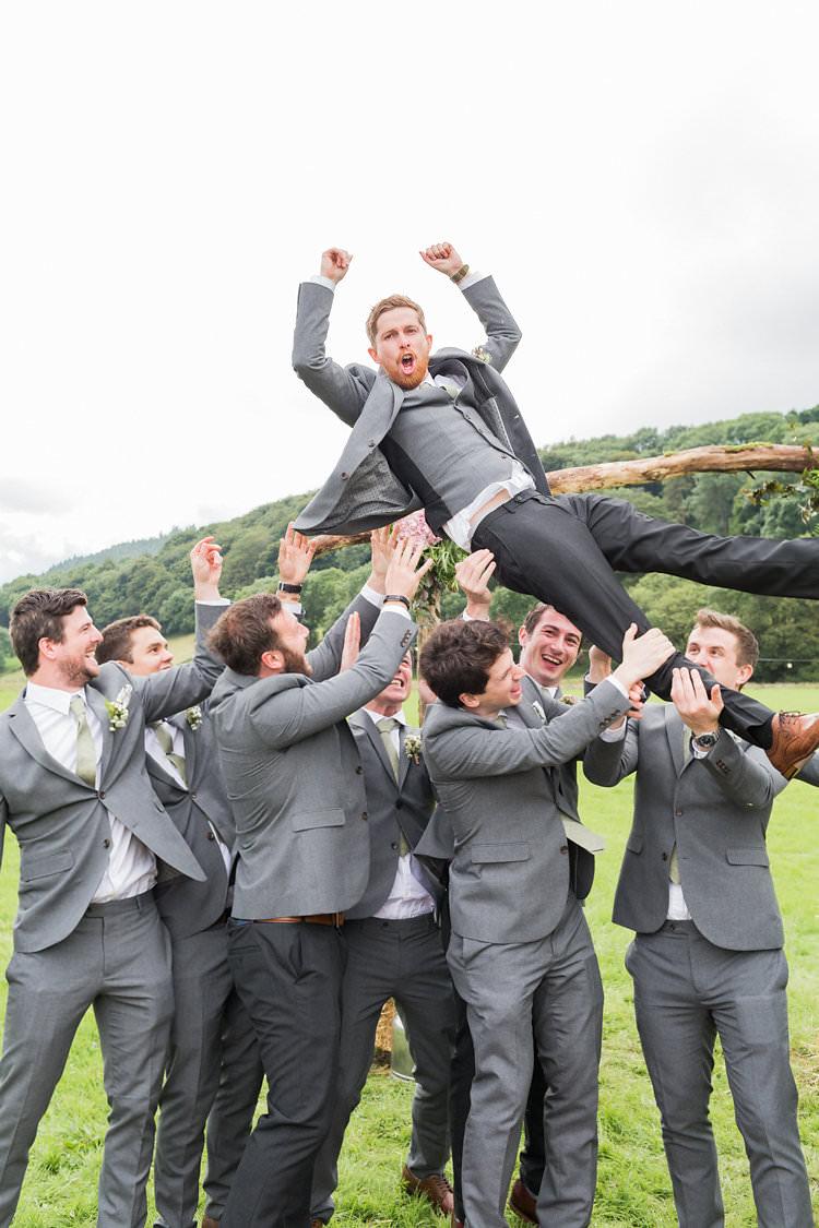 Groom Groomsmen Grey Suits Fun Late Summer Outdoor Farm Wedding http://bowtieandbellephotography.co.uk/