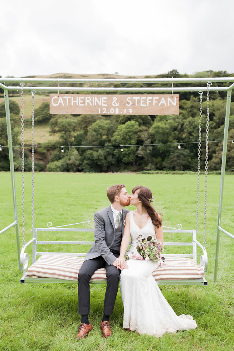 Swing Bench Seat Personalised Fun Late Summer Outdoor Farm Wedding http://bowtieandbellephotography.co.uk/