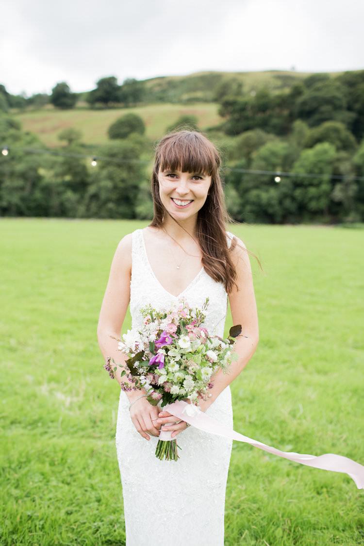 Bride Bridal Strap Lace Dress Gown Fun Late Summer Outdoor Farm Wedding http://bowtieandbellephotography.co.uk/