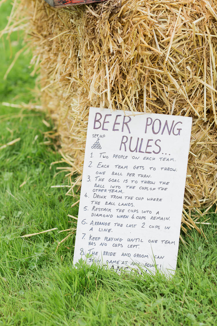 Beer Pong Fun Late Summer Outdoor Farm Wedding http://bowtieandbellephotography.co.uk/