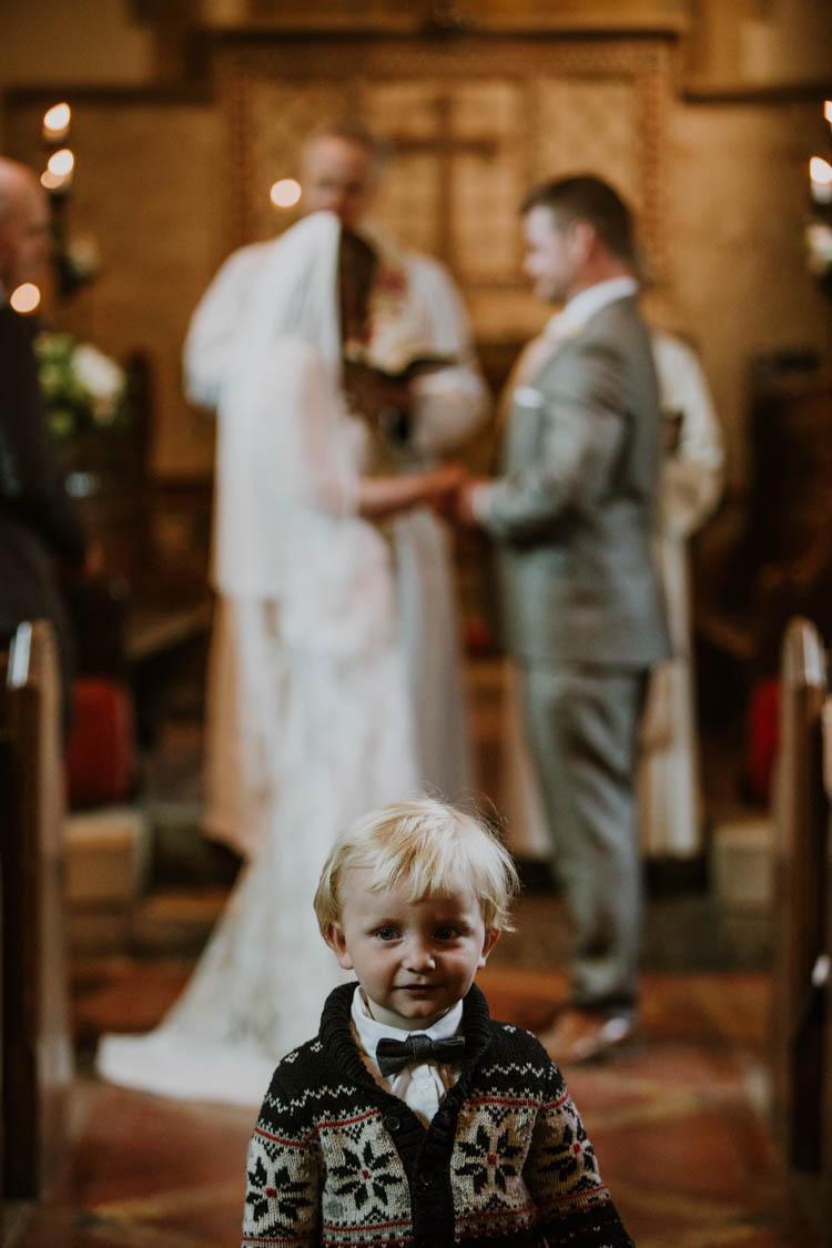Page Boy Cardigan Bow Tie Rustic Copper Spring Barn Wedding http://www.alexandrajane.co.uk/