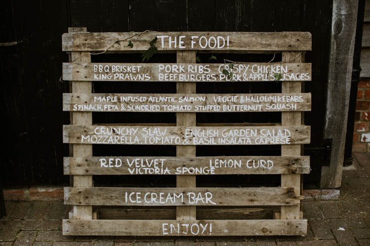 Wooden Pallet Sign Painted Rustic Copper Spring Barn Wedding http://www.alexandrajane.co.uk/