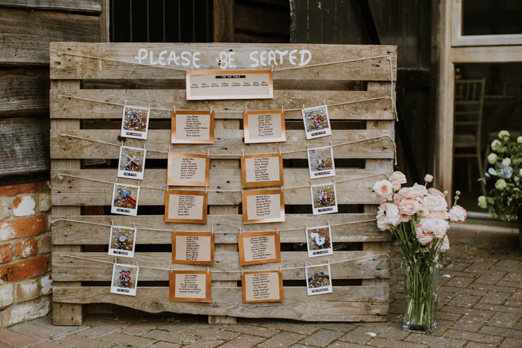 Wooden Pallet Sign Painted Seating Plan Table Chart Rustic Copper Spring Barn Wedding http://www.alexandrajane.co.uk/