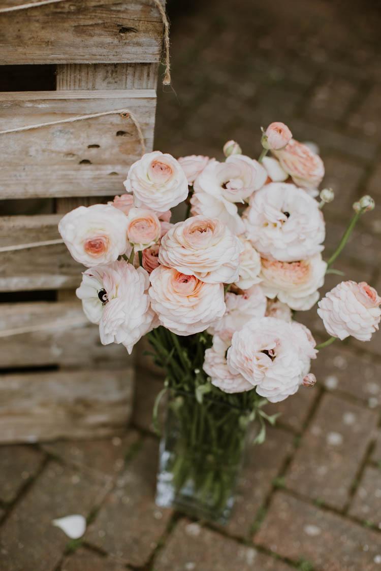 Pink Peach Flowers Jar Rustic Copper Spring Barn Wedding http://www.alexandrajane.co.uk/