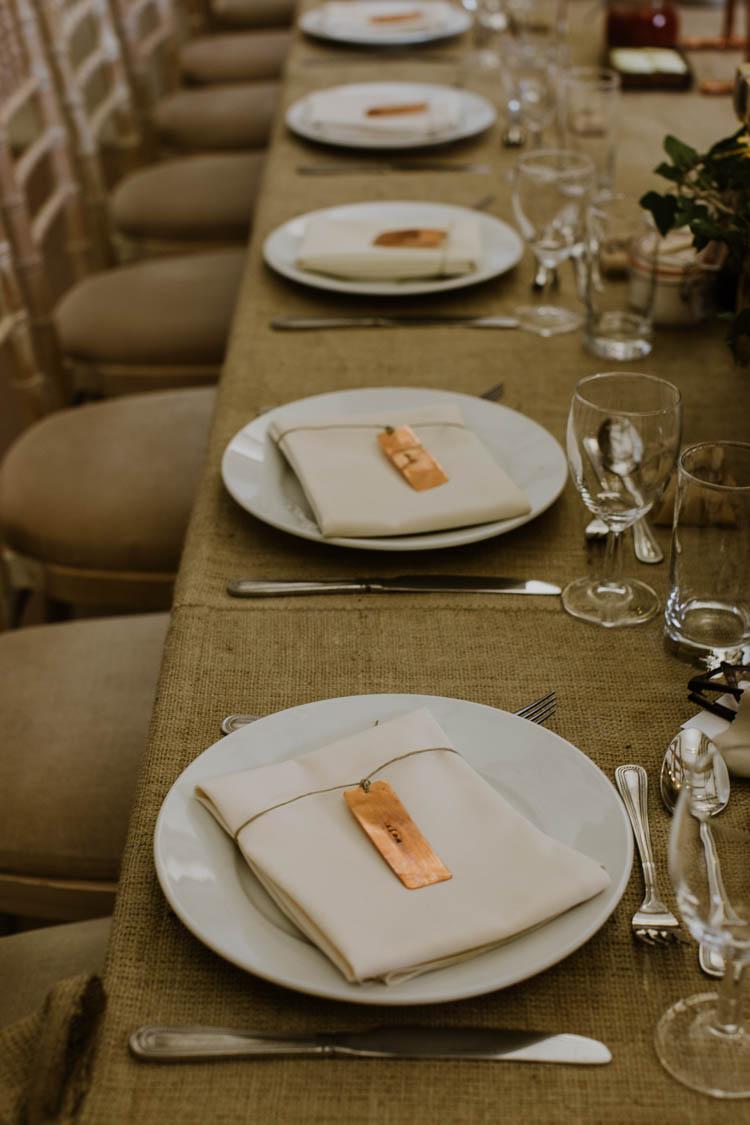 Hessian Burlap Decor Tables Rustic Copper Spring Barn Wedding http://www.alexandrajane.co.uk/