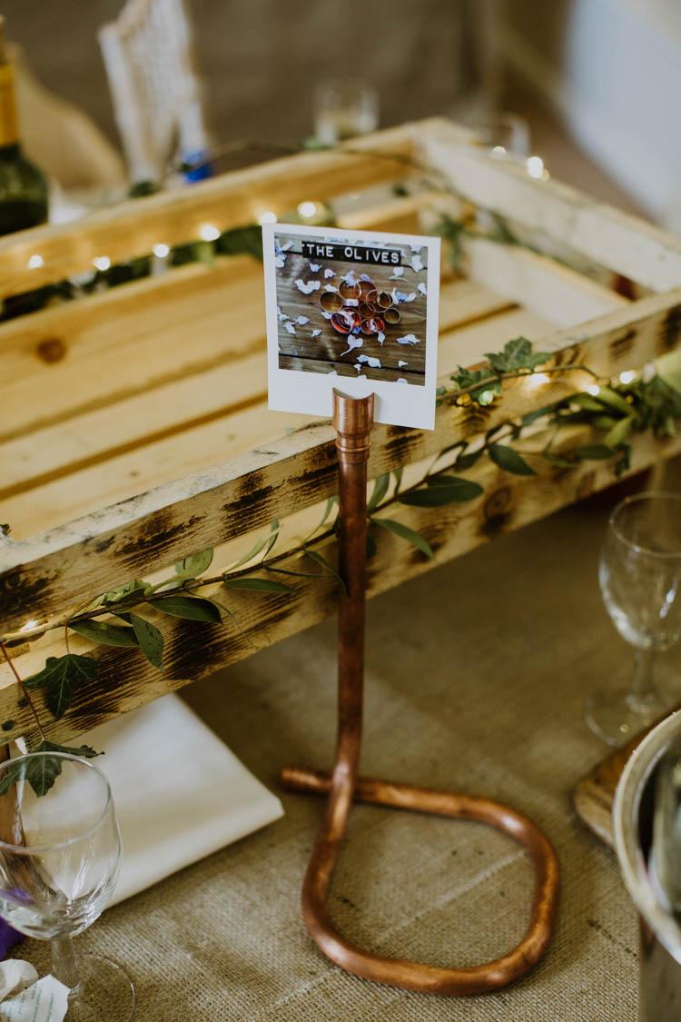 Pipe Table Names Polariod Rustic Copper Spring Barn Wedding http://www.alexandrajane.co.uk/