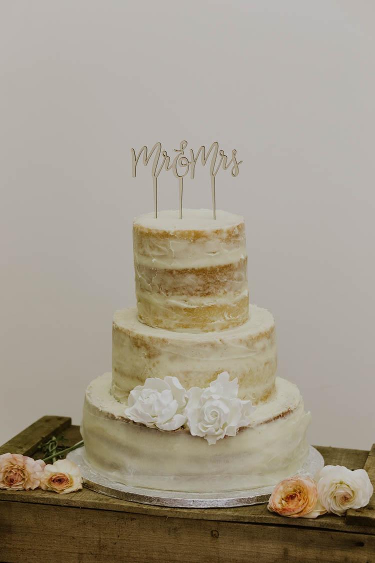 Semi Naked Buttercream Cake Topper Rustic Copper Spring Barn Wedding http://www.alexandrajane.co.uk/