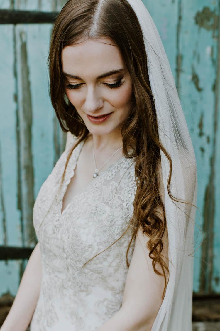 Bride Bridal Make Up Long Hair Wavy Rustic Copper Spring Barn Wedding http://www.alexandrajane.co.uk/