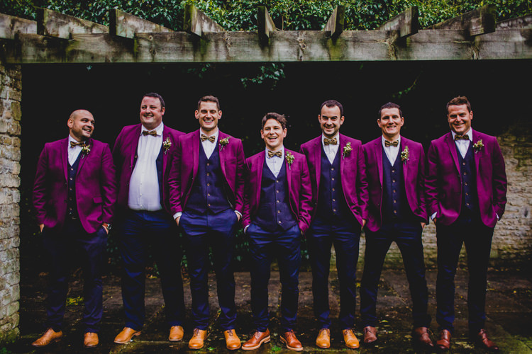 Red Burgundy Jackets Bow Ties Waistcoats Tan Shoes Groom Groomsmen Christmas Wedding Cotswolds http://jonnymp.com/