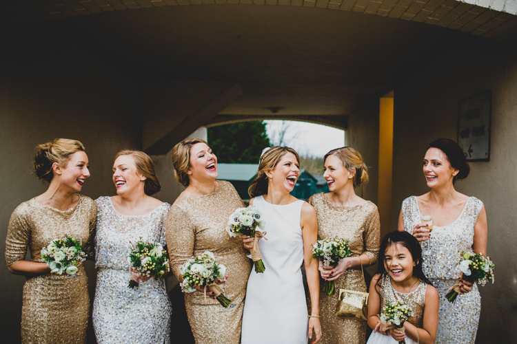 Gold Silver Sequin Bridesmaid Dresses Christmas Wedding Cotswolds http://jonnymp.com/