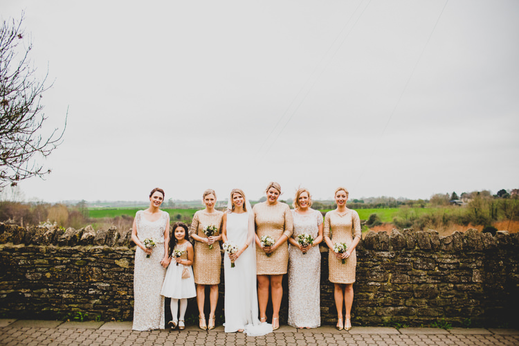 Gold Silver Sequin Bridesmaids Dresses Christmas Wedding Cotswolds http://jonnymp.com/