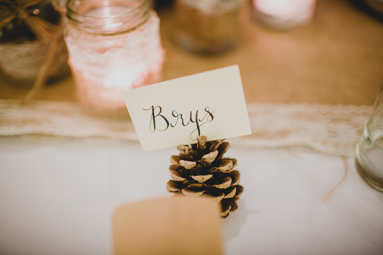 Pine Cone Calligraphy Place Name Card Christmas Wedding Cotswolds http://jonnymp.com/