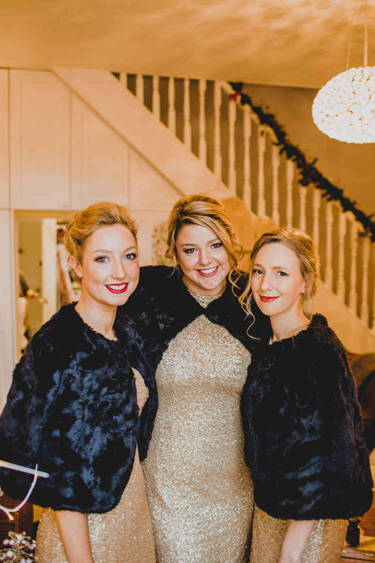 Sequin Bridesmaid Dresses Fur Shrug Christmas Wedding Cotswolds http://jonnymp.com/