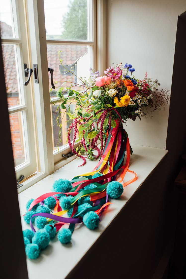 Bouquet Flowers Ribbon Pom Poms Bride Bridal Wild Alternative Colourful Outdoor Humanist Village Hall Wedding http://www.chebirchhayesphotography.com/