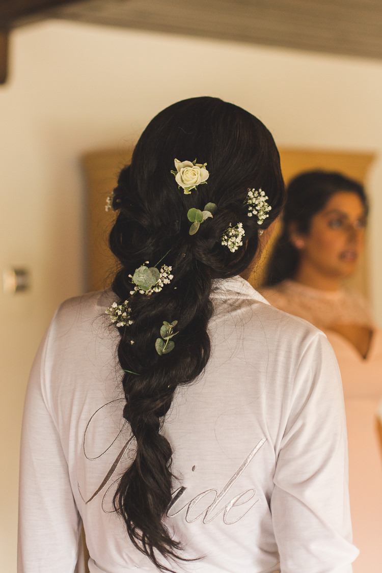 Bride Bridal Floral Flowers Hair Plait Up Do Whimsical Romantic Barn Wedding http://kirstymackenziephotography.co.uk/