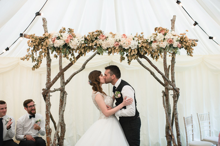Bride Bridal Princess Embellished Sparkle Top Waistcoat Groom Ceremony Backdrop Arbour Hops Flowers Floral Personal Homegrown Country Farm Wedding https://www.emmahare.com/