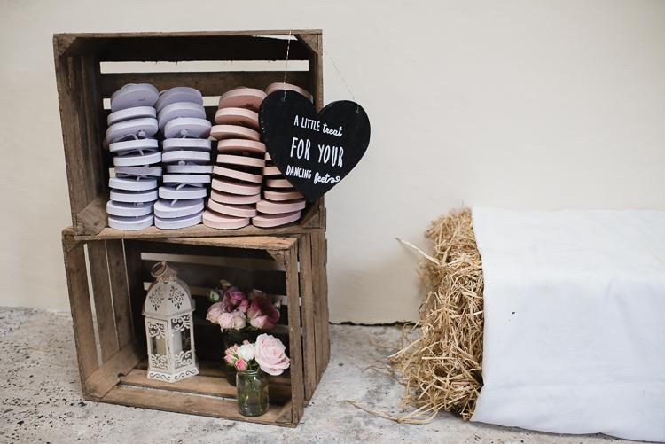 Flip Flops Dancing Feet Fruit Crates Personal Homegrown Country Farm Wedding https://www.emmahare.com/