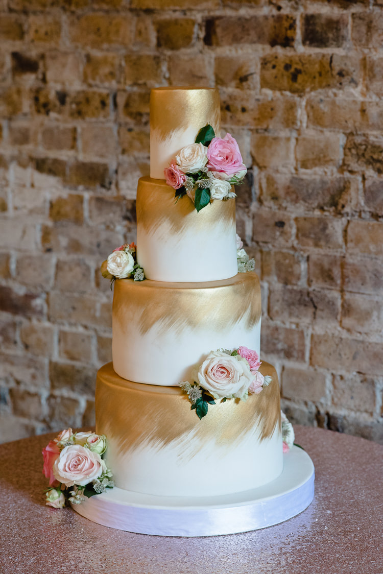 Tiered Cake Gold Flowers Floral Airbrush Personal Homegrown Country Farm Wedding https://www.emmahare.com/