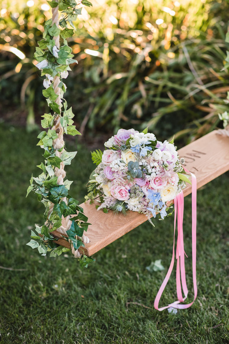 Swing Pastel Bouquet Bride Bridal Ribbon Ivy Personal Homegrown Country Farm Wedding https://www.emmahare.com/