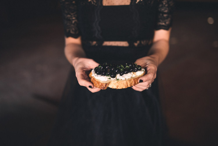 Dark Moody Black Dress Bride Lace Sleeves Nails Green Food | Edgy Emerald City Wedding Ideas http://www.yvonnegollphotography.com/