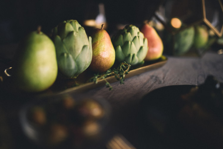 Dark Moody Black Gold Green Table Decor Fruit Tray | Edgy Emerald City Wedding Ideas http://www.yvonnegollphotography.com/