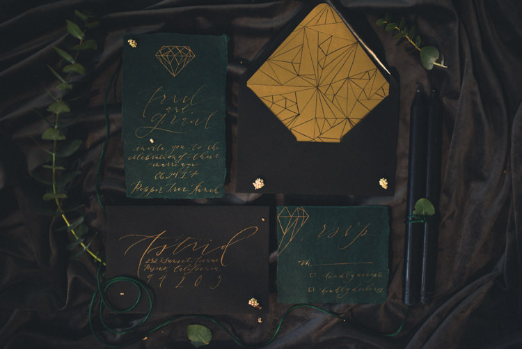 Dark Moody Green Black Gold Geometric Stationery Calligraphy | Edgy Emerald City Wedding Ideas http://www.yvonnegollphotography.com/