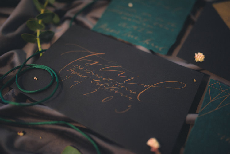 Dark Moody Black Green Gold Geometric Stationery Calligraphy Envelope Lettering | Edgy Emerald City Wedding Ideas http://www.yvonnegollphotography.com/