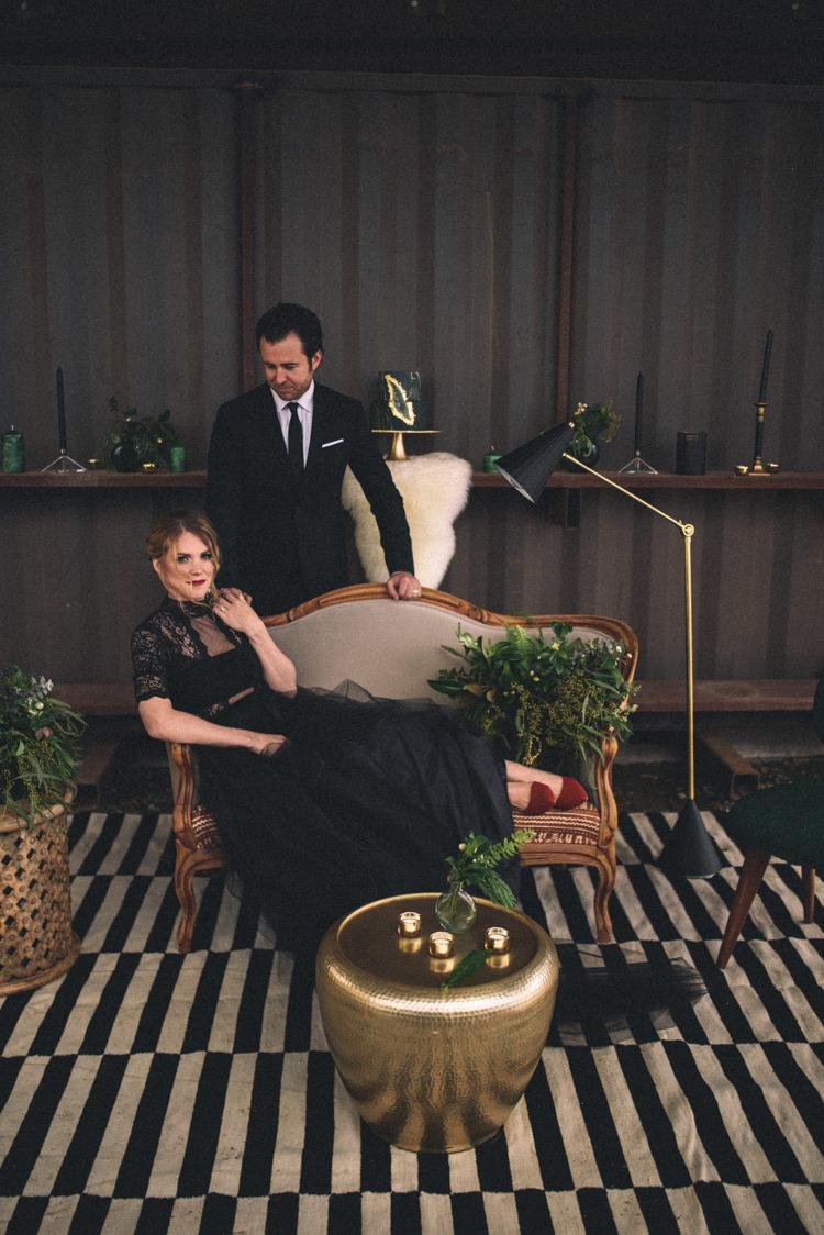 Dark Moody Black Dress Bride Groom Lounge Gold Green Decor | Edgy Emerald City Wedding Ideas http://www.yvonnegollphotography.com/