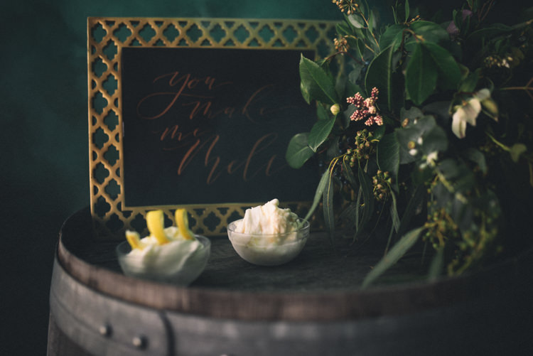 Dark Moody Black Green Gold Decor You Make Me Melt Ice Cream Calligraphy | Edgy Emerald City Wedding Ideas http://www.yvonnegollphotography.com/