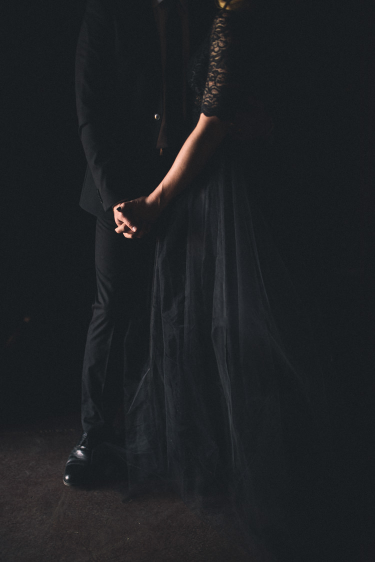 Dark Moody Black Dress Bride Groom Lace Sleeves | Edgy Emerald City Wedding Ideas http://www.yvonnegollphotography.com/