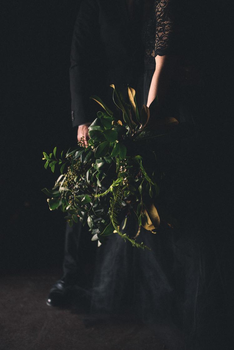 Dark Moody Bride Groom Large Wild Green Bouquet | Edgy Emerald City Wedding Ideas http://www.yvonnegollphotography.com/