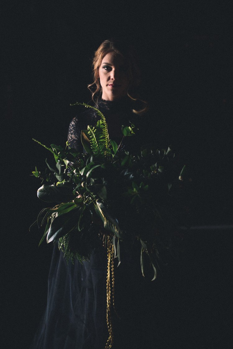 Dark Moody Black Dress Bride Wild Green Bouquet | Edgy Emerald City Wedding Ideas http://www.yvonnegollphotography.com/