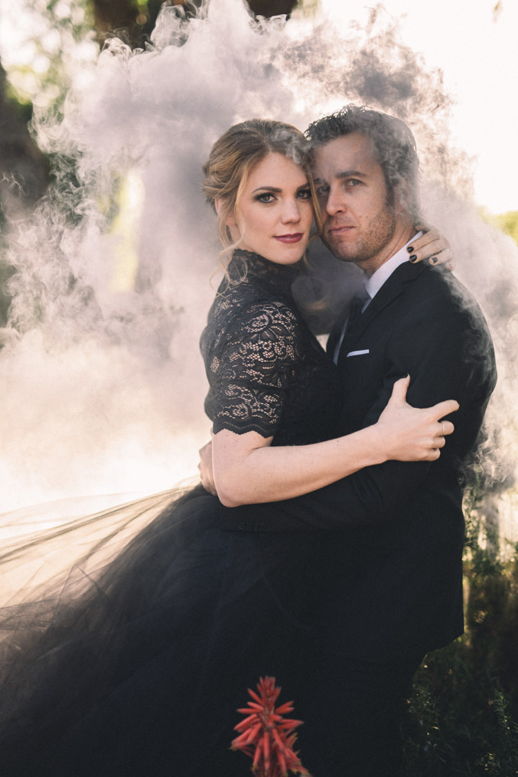 Dark Moody Black Dress Bride Groom Outdoor Smoke Photo Silhouettes | Edgy Emerald City Wedding Ideas http://www.yvonnegollphotography.com/