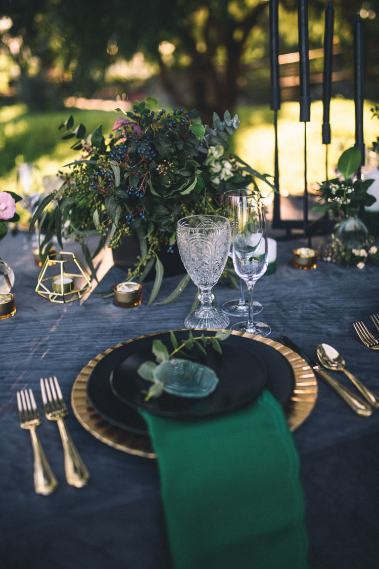Dark Moody Black Green Gold Table Decor Agate Placecards Geometric Candle | Edgy Emerald City Wedding Ideas http://www.yvonnegollphotography.com/