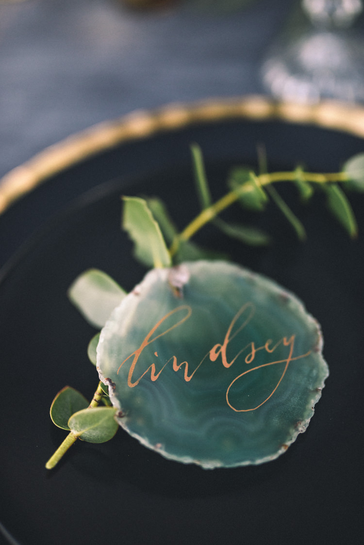 Dark Moody Black Green Gold Agate Placecards Calligraphy Plates | Edgy Emerald City Wedding Ideas http://www.yvonnegollphotography.com/
