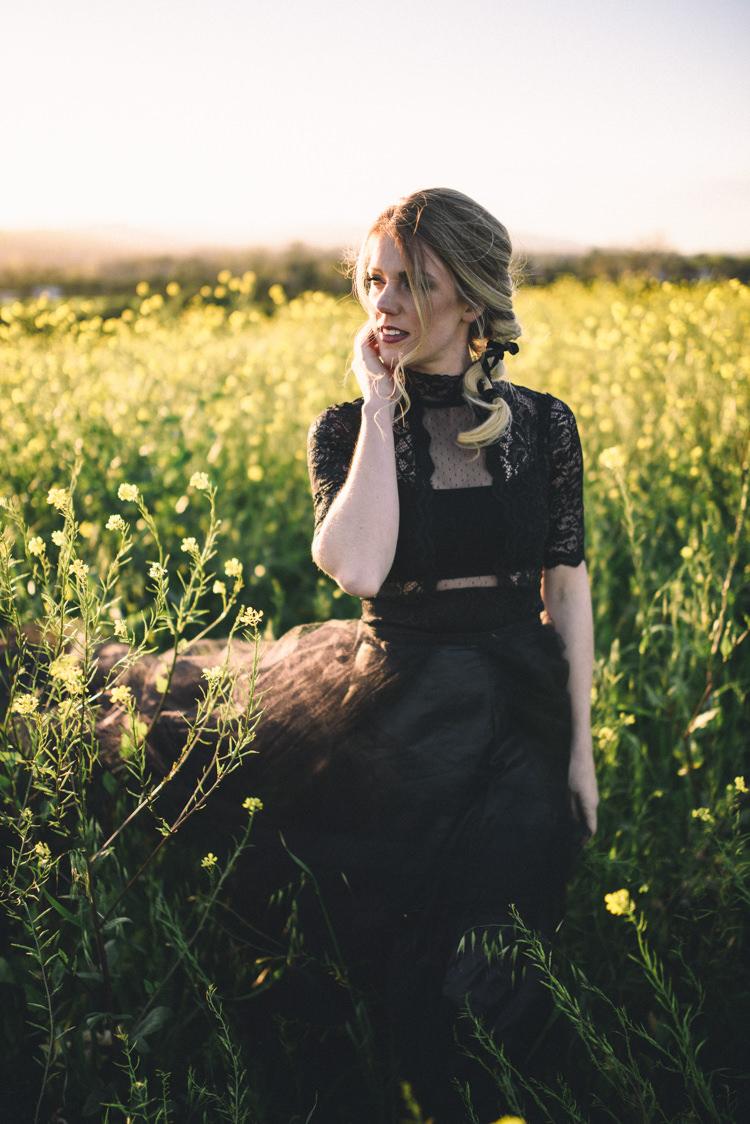 Dark Moody Black Dress Bride Braid Field Outdoor | Edgy Emerald City Wedding Ideas http://www.yvonnegollphotography.com/