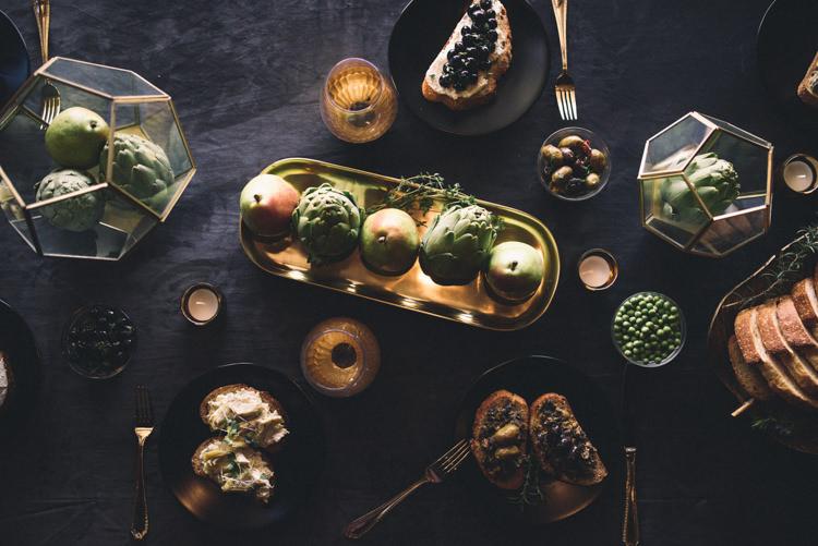 Dark Moody Black Gold Green Table Decor Fruit Cutlery Hexagonal | Edgy Emerald City Wedding Ideas http://www.yvonnegollphotography.com/