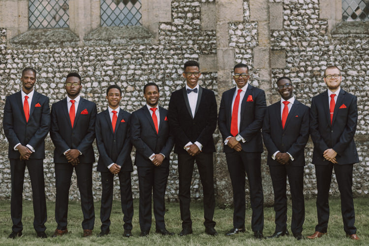 Tuxedo Jacket Groom Patterned Bow Tie Red Tie Groomsmen Stylish Budget Friendly Village Hall Wedding http://natalyjphotography.com/