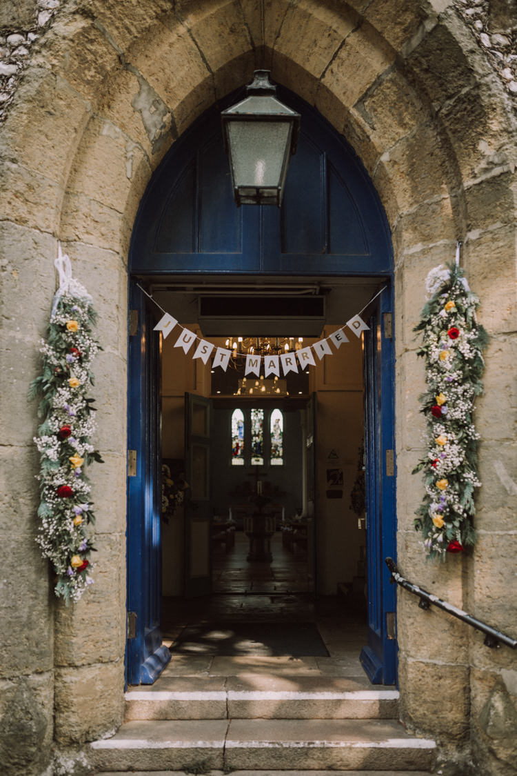 Church Garland Entrance Gypsophila Multicoloured Flower Floral Just Married Bunting Stylish Budget Friendly Village Hall Wedding http://natalyjphotography.com/