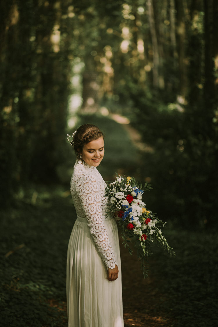 Bride Bridal Self Portrait Wedding Dress Long Sleeved High Neck Multicolour Trailing Bouquet Ribbon Plait Up Do Trailing Multicolour Bouquet Stylish Budget Friendly Village Hall Wedding http://natalyjphotography.com/