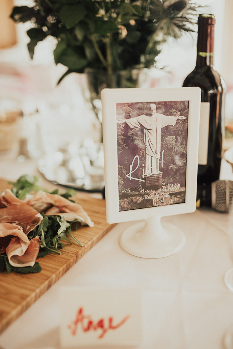 Table Name Centre Photo Frame Stylish Budget Friendly Village Hall Wedding http://natalyjphotography.com/