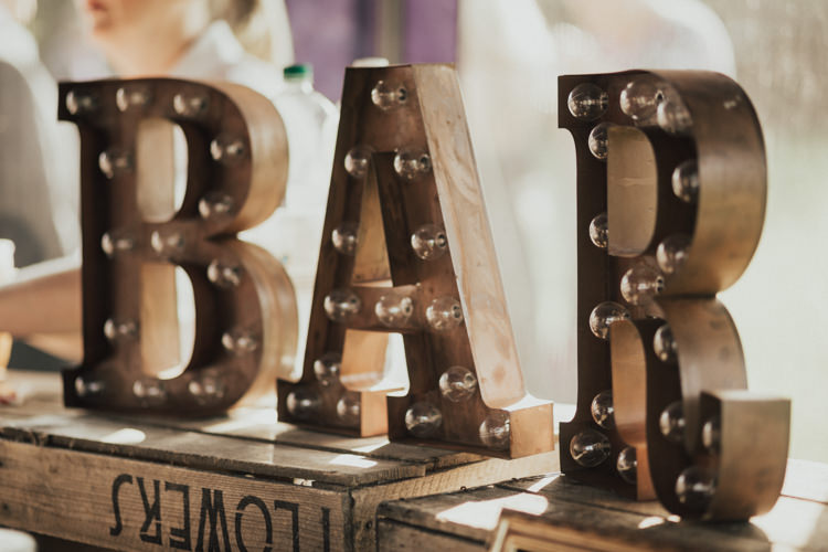 Bar Circuit Light Up Letters Vintage Rustic Wooden Crate Stylish Budget Friendly Village Hall Wedding http://natalyjphotography.com/