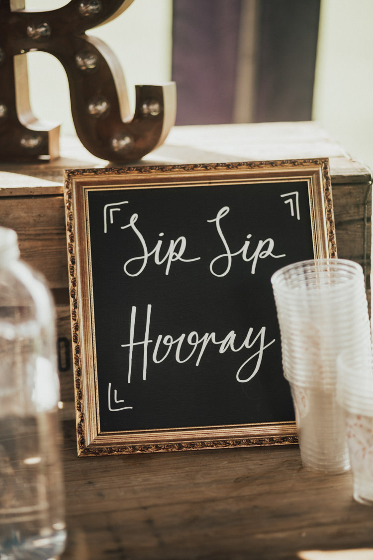 Sip Sip Hooray Chalk Board Gold Frame Bar Sign Stylish Budget Friendly Village Hall Wedding http://natalyjphotography.com/