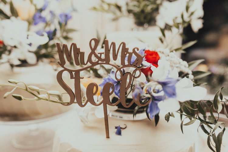 Laser Cut Cake Topper Mr & Mrs Modern Calligraphy Stylish Budget Friendly Village Hall Wedding http://natalyjphotography.com/