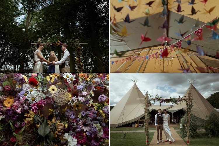 Magical Woodland Clearing Wedding with Colourfully Decorated Tipis https://www.lukebellphotography.co.uk/