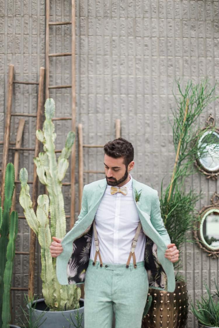 Conservatory Cactus Green Foliage Groom Green Suit Braces Suspenders Italian | Greenery Botanical Wedding Ideas https://lisadigiglio.com/